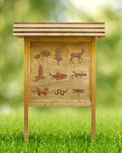 Icons of flora and fauna in a wooden placard — Stock Photo