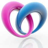 Blue and pink rings in the shape of heart — Foto de Stock