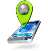 Mobile phone with location marker on white background — Stock Photo