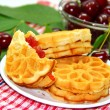 Stock Photo: Waffle and cherry