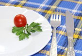 Small portion of vegetables on a white plate — Stock Photo