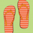 Flip flops with orange stripes — Stock Vector