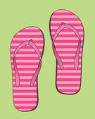 Flip flops with pink stripes — Stock Vector