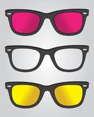 Set of retro black sunglasses — Stock Vector