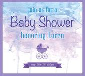 ベビー シャワーの水彩招待 — ストックベクタ