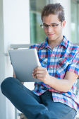 Male using tablet pc — Stock Photo