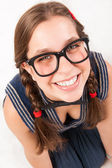 Young goofy and nerdy girl looking at camera. — Stock Photo