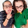 Young nerdy girls — Stock Photo #51007589