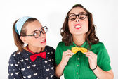 Young nerdy girls — Stock Photo