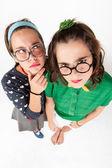 Young nerdy girls — Stock Photo