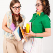 Cute nerdy girls bump into each other. — Stock Photo #51149509
