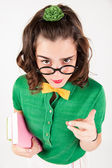 Nerdy girl telling someone off. — Stock Photo