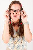Young nerdy cute girl. — Stock Photo