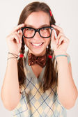 Young nerdy cute girl smiling. — Stock Photo