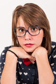 Young nerdy and creepy girl. — Stock Photo