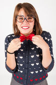 Young nerdy shy girl. Studio shot. — Stock Photo