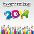 Colorful Abstract Happy New Year 2014 Card — Stock Vector