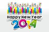 Colorful Abstract Happy New Year 2014 Card — Vector de stock