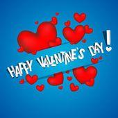 Feliz día de san valentín tarjeta con corazones rojos — Vector de stock