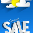 Hard Discount Summer Sale With Clouds And Sun — Stock Vector