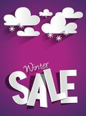 Hard Discount Winter Sale With Clouds And Snowflakes — Stock Vector