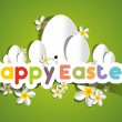 Happy Easter Card With Eggs And Spring Flowers — Stock Vector