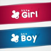 Birth Banners, It's A Boy, Girl — Stock Vector