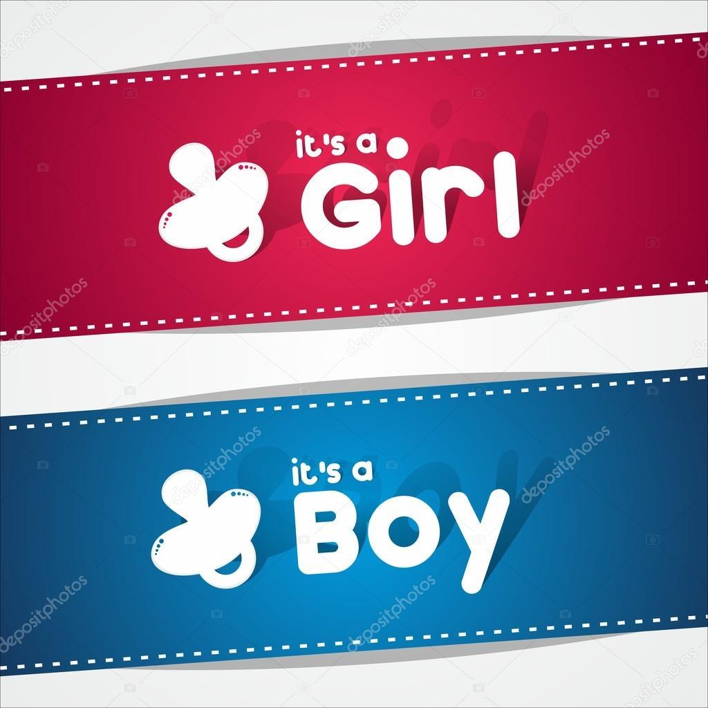 Birth Banners, Its A Boy, Girl — Stock Vector © nicousnake #39563001