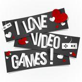 I Love Video Games — Stock Vector