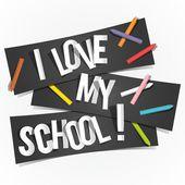 Ik hou van mijn school — Stockvector