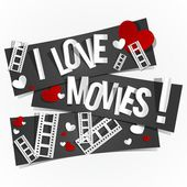 I Love Movies — Stock Vector