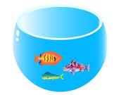 Home aquarium with three fish — Stock Vector