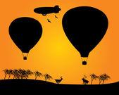 气球 derizhabl 两个鹿树 — 图库矢量图片