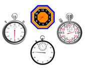 Stop watches and clocks — Stockvektor