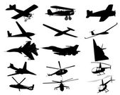 Airplanes helicopters — Stock Vector