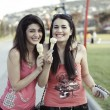 Stock Photo: Girls eating ice cream