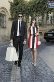Shopping man and woman — Foto de Stock