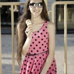 Girl with ice cream — Stock Photo