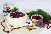 Lemon biscuit cake with cranberries — Stock Photo