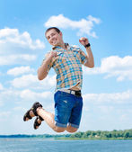 Joyful jump at summer — Stock Photo