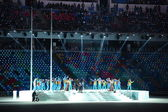 Performance of Tattoo on opening ceremony of Sochi 2014 XXII Olympic Winter Games. — Stock Photo