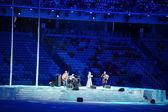 Anna Netrebko Olympics sings anthem — Stock Photo