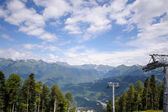 Chair lift in the mountains of Krasnaya Polyana (Russia, Sochi) — Stock Photo