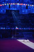 Opening ceremony of Sochi 2014, bearers of the Olympic flag — Stock Photo