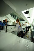 """People eat and drink inside the stadium """"Fischt"""" — Stock Photo"""