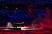 Piano player Denis Matsuev performance at the Closing ceremony of Sochi 2014 — Stock Photo