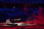 Piano player Denis Matsuev performance at the Closing ceremony of Sochi 2014 — Stock Photo