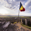Romania flag in Medieval fortress — Stock Photo #50791407