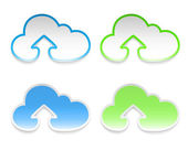 Vector cloud stickers with arrows, set of four — Stock Vector