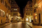 Rothenburg Ob der Tauber Christmas night — Stock Photo